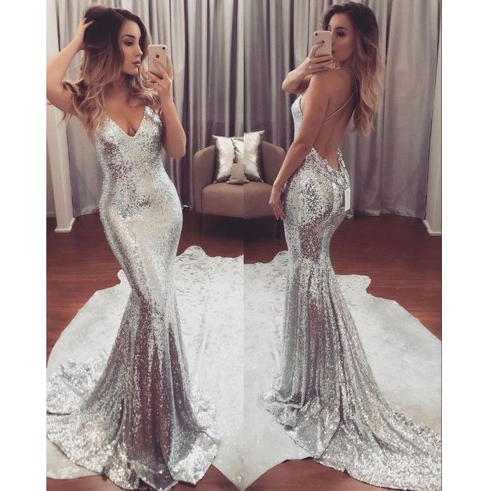 84d4c6b43f Silver Backless Cheap Sequin Sexy Sparkle Mermaid Long Prom Dresses ...