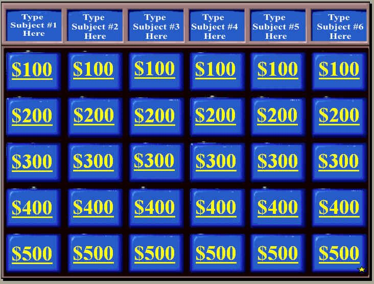 Jeopardy Powerpoint Smartboard Template – Blank Jeopardy Template