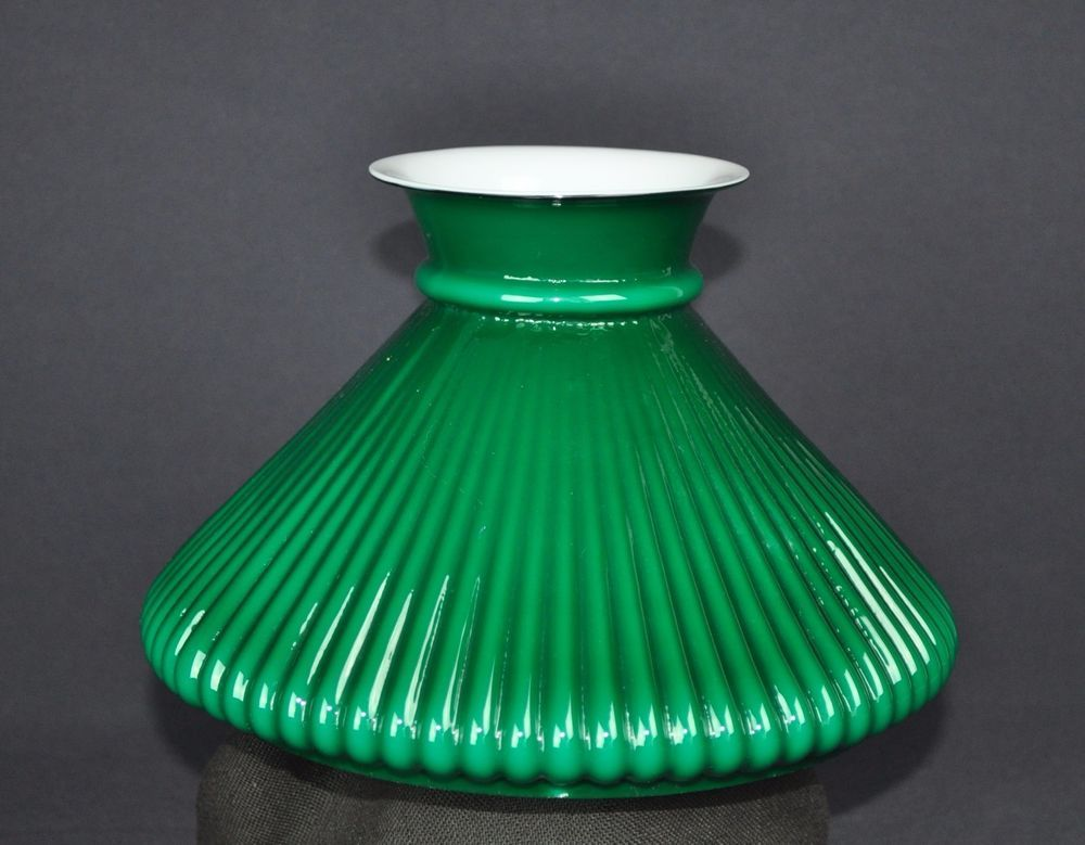 Victorian green cased slant ribbed 7 student lamp shade oil lamp victorian green cased slant ribbed 7 student lamp shade oil lamp kerosene aloadofball Gallery