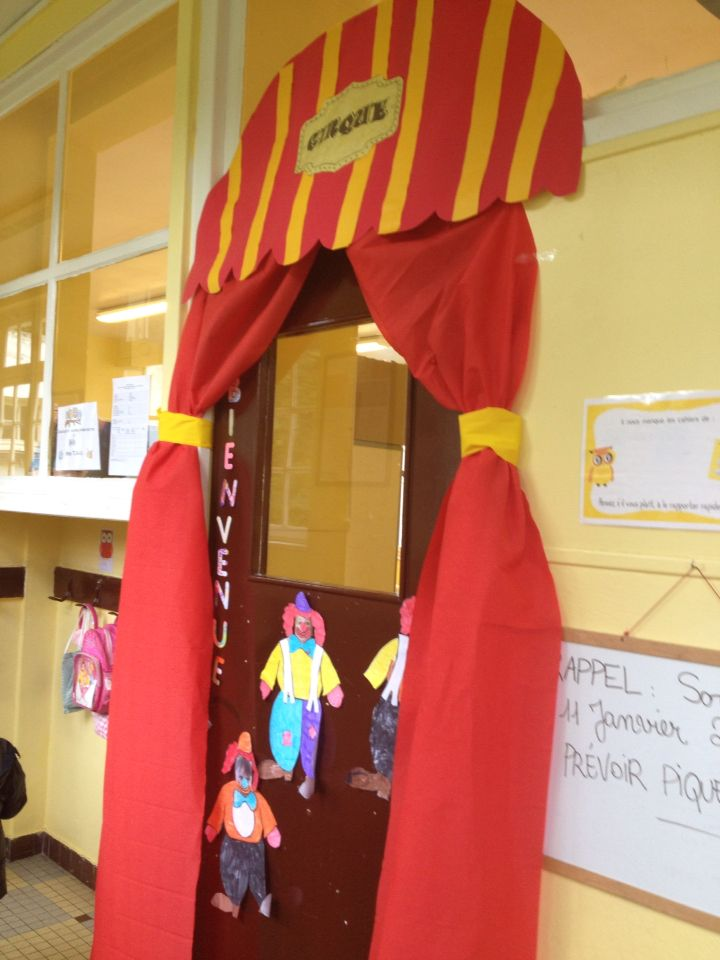D coration de porte projet cirque maternelle cp for Decoration porte noel maternelle