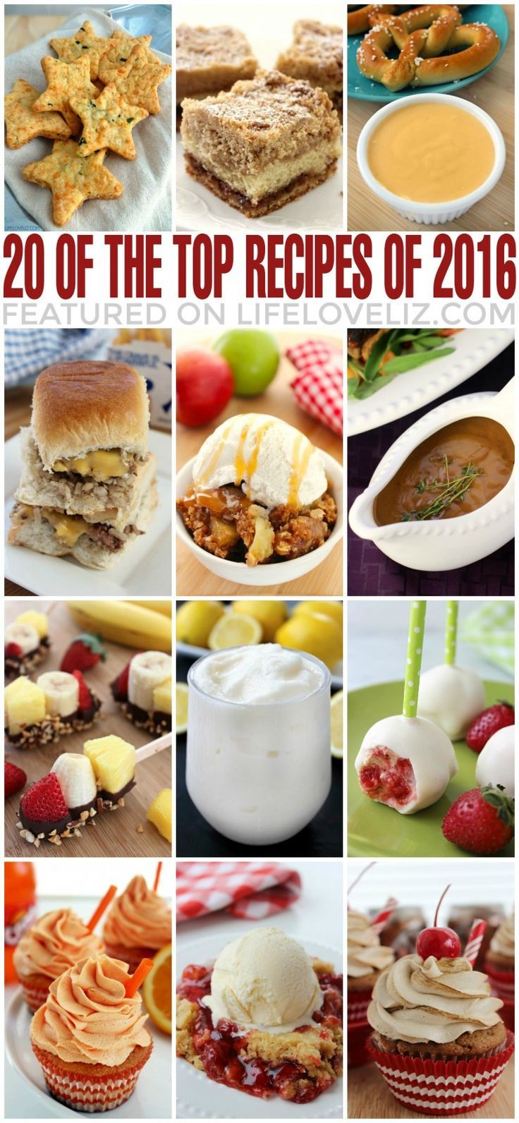 Today I want to share with you the 20 top recipes of 2016 featured on LifeLoveLiz.com. Well here is to 2017 and more delicious recipes to come! Enjoy!