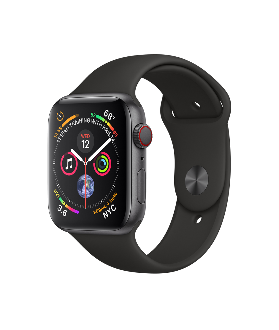 50d03d7d604 Apple Watch Series 4 - Space Gray Aluminum Case with Black Sport Band -  Apple (44mm GPS + Cellular)