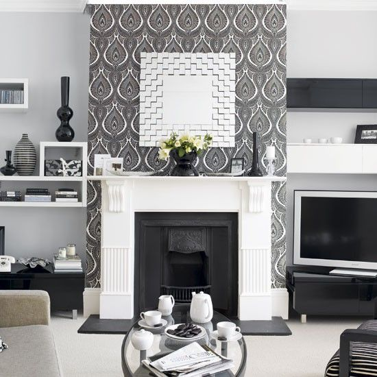 Fire Places Monochrome Living Room