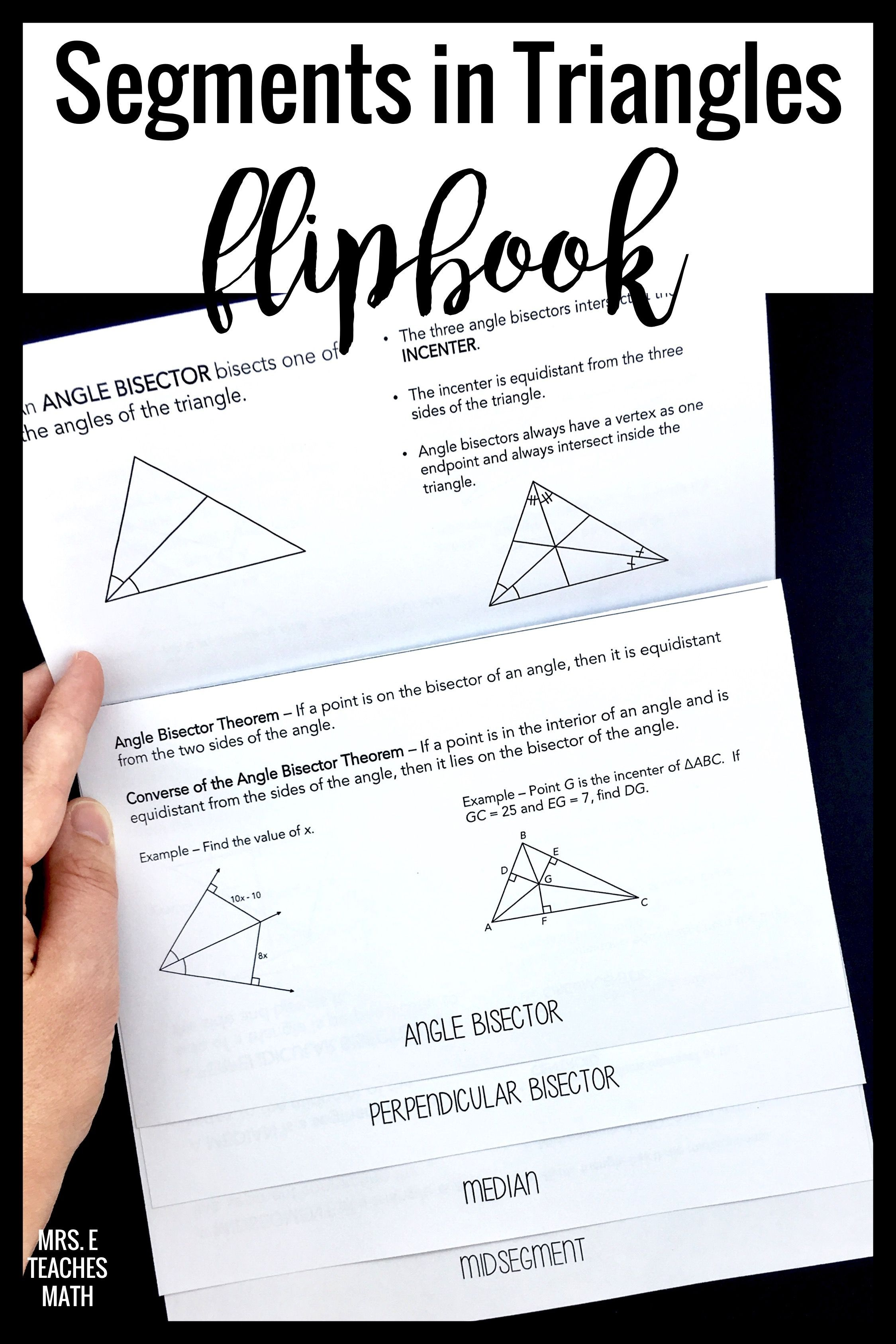 Segments In Triangles Flipbook High School Math Lesson Plans Geometry Notes Geometry Lessons