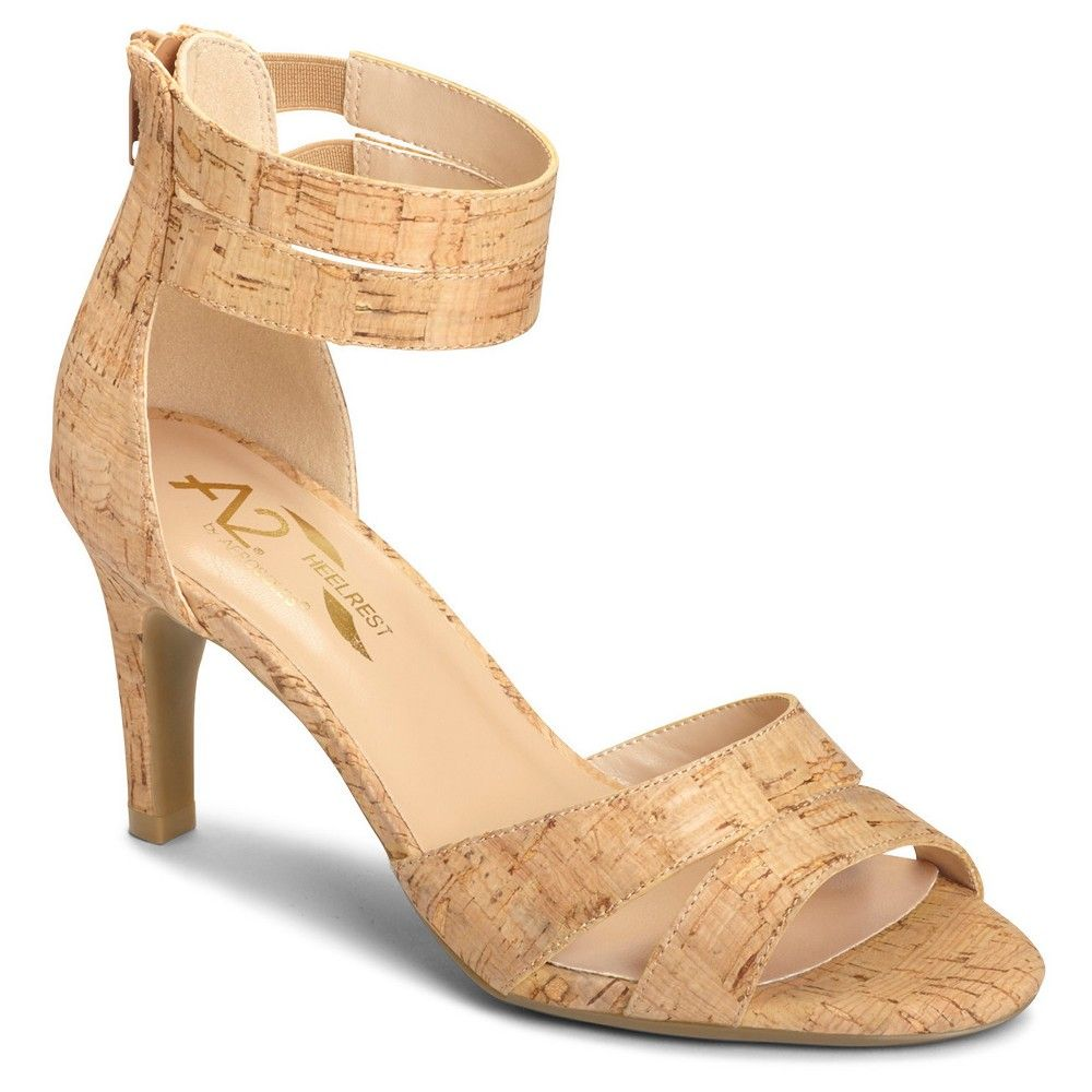 Women's A2 by Aerosoles Proclamation Cross Strap Heeled Sandals - Cork  (Brown) 10.5