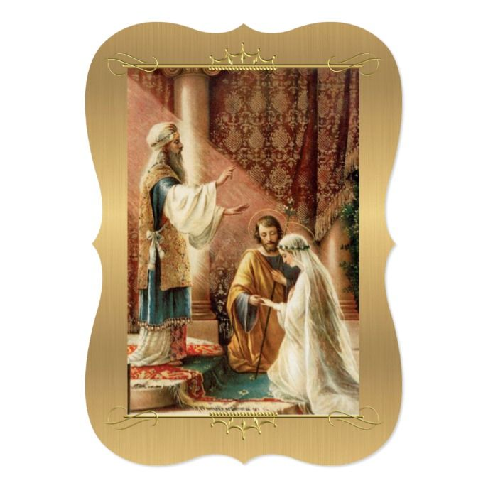 Traditional Catholic Gold Wedding Invitation