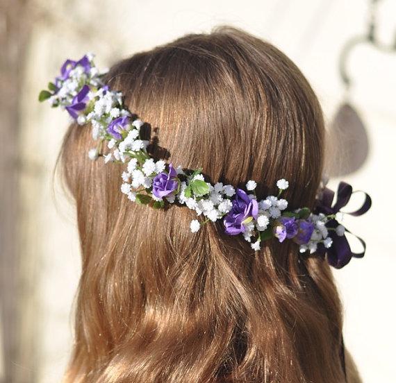 White /& Lavender Flower Girl Head Piece halo wedding
