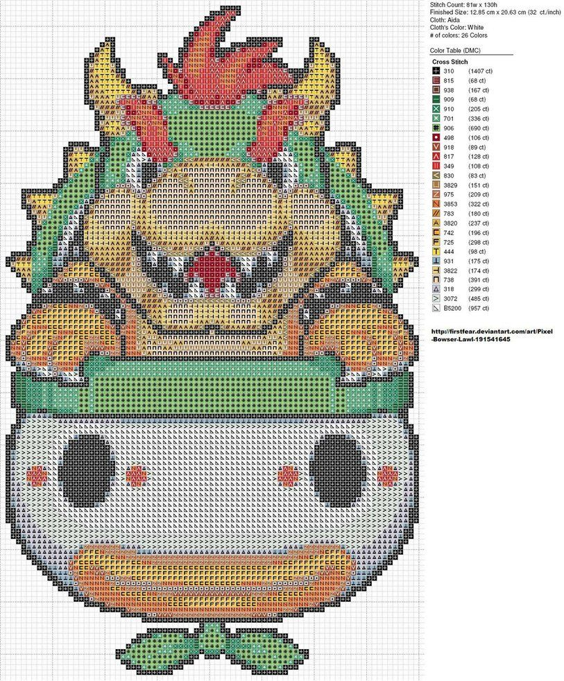 Free Super Mario Brothers Bowser cross stitch pattern   Needle Work ...