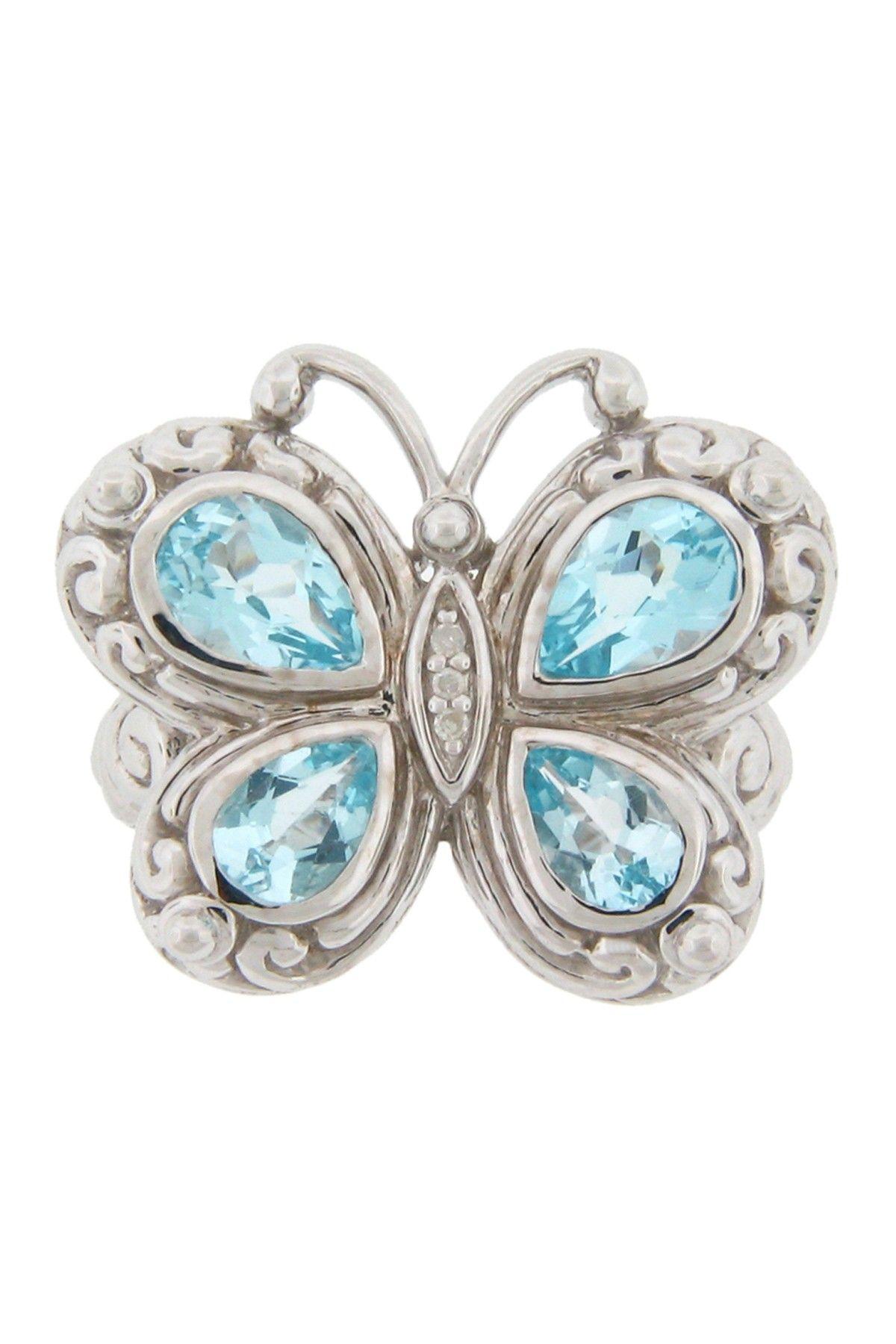 Sterling Silver Blue Topaz & Diamond Butterfly Ring - 0.015 ctw on HauteLook