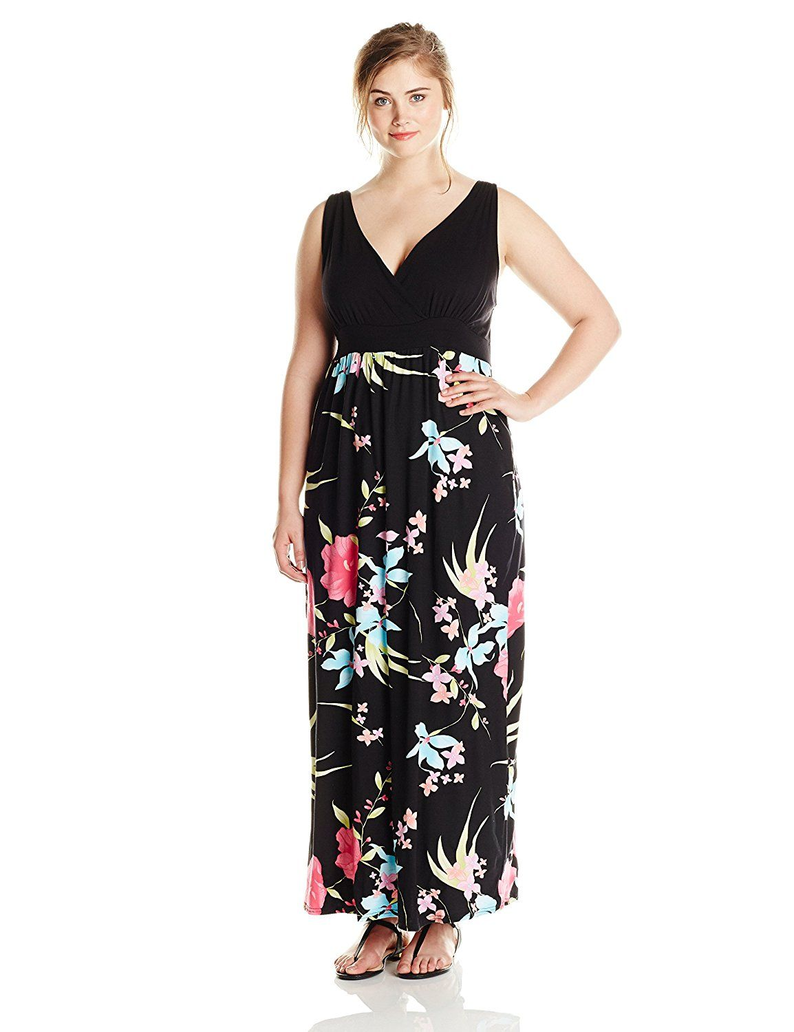 yours clothing women's plus-size black and multi floral print maxi