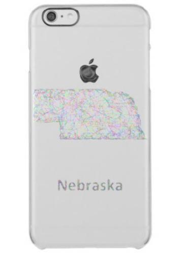 Nebraska map clear iPhone 6 plus case $49.65 *** Colorful line art design map of Nebraska state. - iPhone 6 plus case