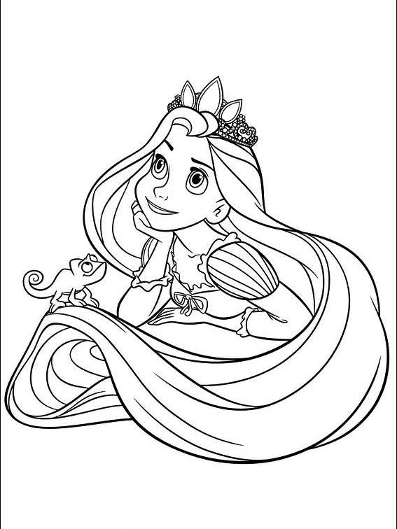 Print baby princess disney rapunzel coloring pages Princess