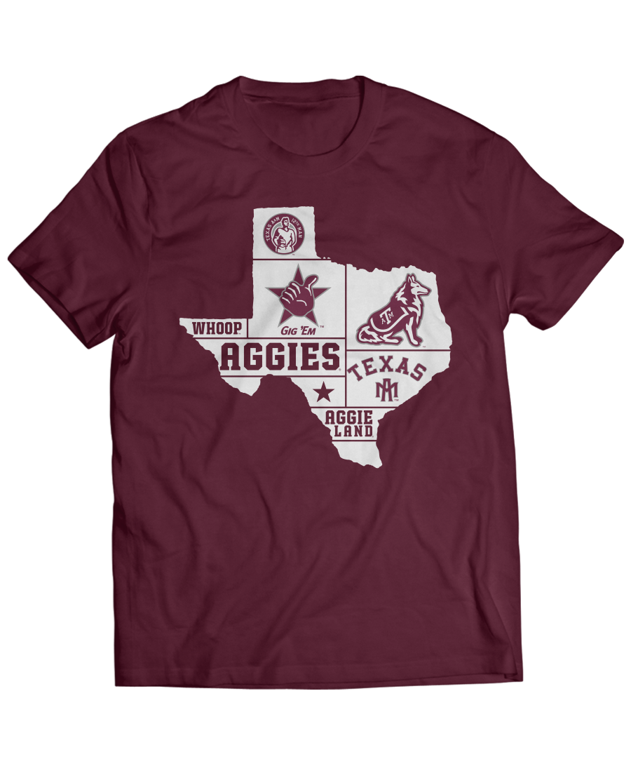 Texas A M Aggies State Outline With School Sayings School Spirit Shirts Texas A M Spirit Shirts