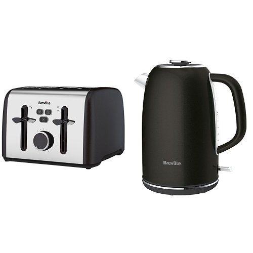 Breville Colour Notes 4-Slice Toaster, Black and Kettle, 1.7 L, Black Bundle