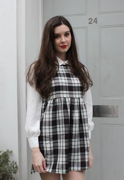 b09718d0d1b Black and White Tartan Check Pinafore Smock Dress
