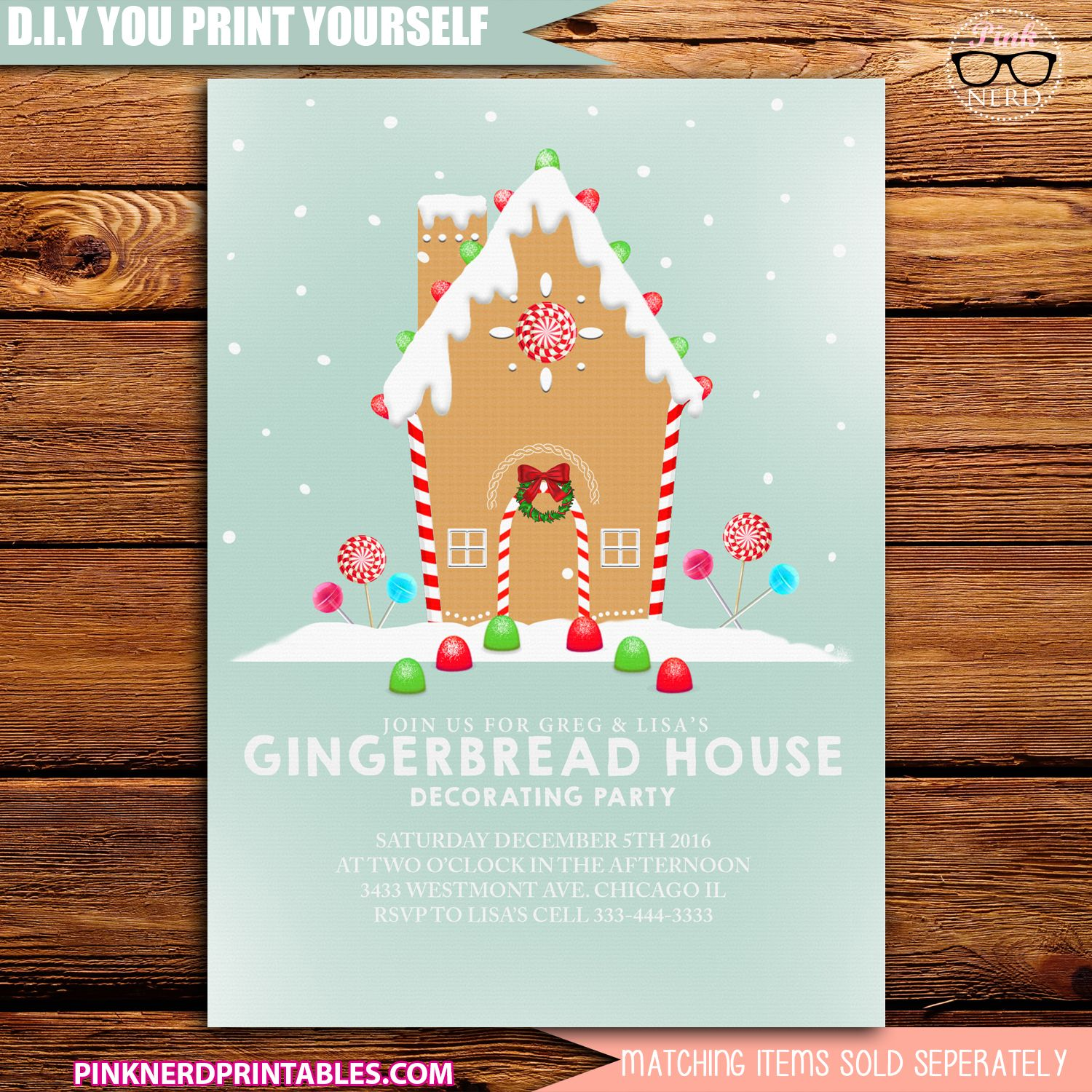 Gingerbread House Party Invitation Printablechristmas Party Cards