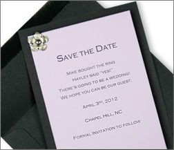 Black And Lilac Layered Save The Date Card With Flower Brad Change Pin To
