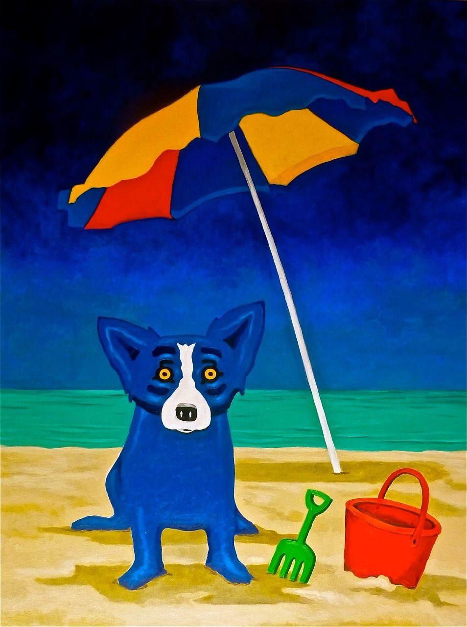 Blue dog beach day blue dog art blue dog painting blue dog