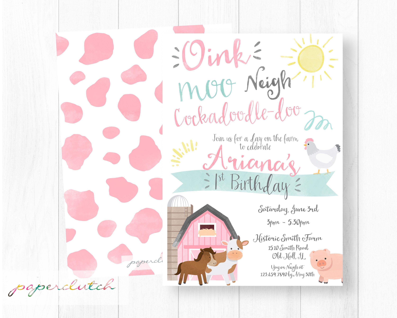 Pink Farm Birthday Invitation - Barnyard Birthday - Old McDonald ...