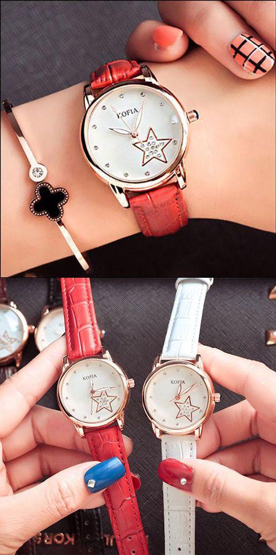 Eleghant Diamond Quartz Cortical Star Luminous Waterproof Women Wrist Watch is so cute ! #star #women #quartz #fashion #New #watch