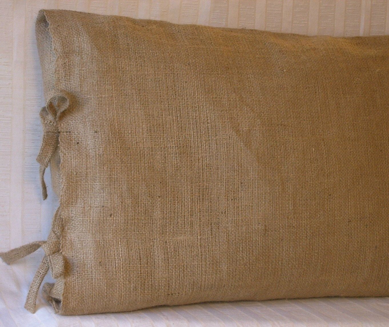 Burlap Window Treatments | Standard/ Queen Burlap Pillow Sham with ...
