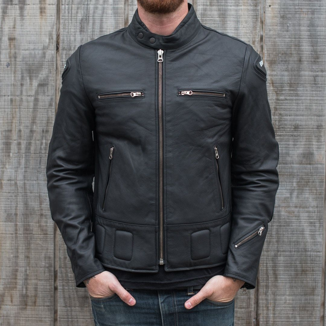 A retro inspired motorcycle jacket Fullgrain leather
