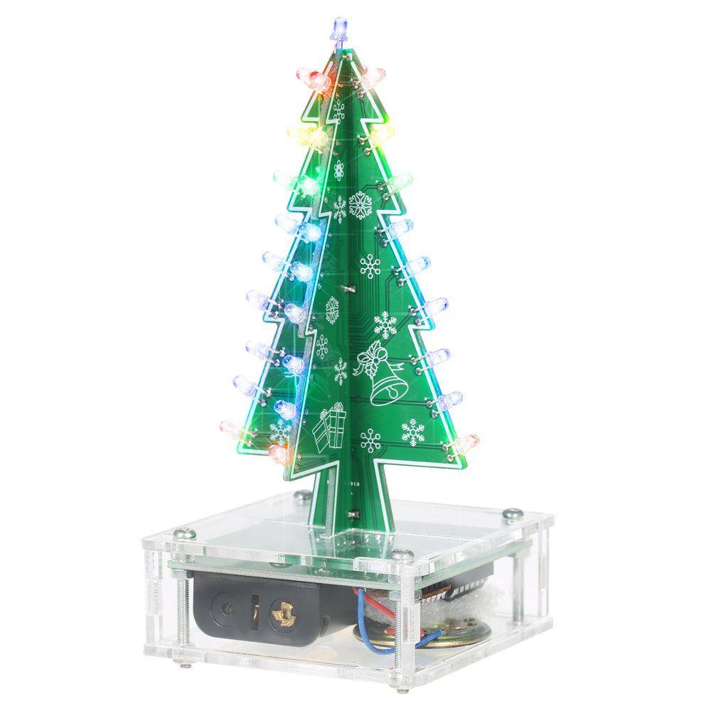 Kkmoon Diy Christmas Tree Colorful Led Light Acrylic With Music Electronic Learning Kit Module X Diy Felt Christmas Tree Diy Christmas Tree Christmas Tree Sale