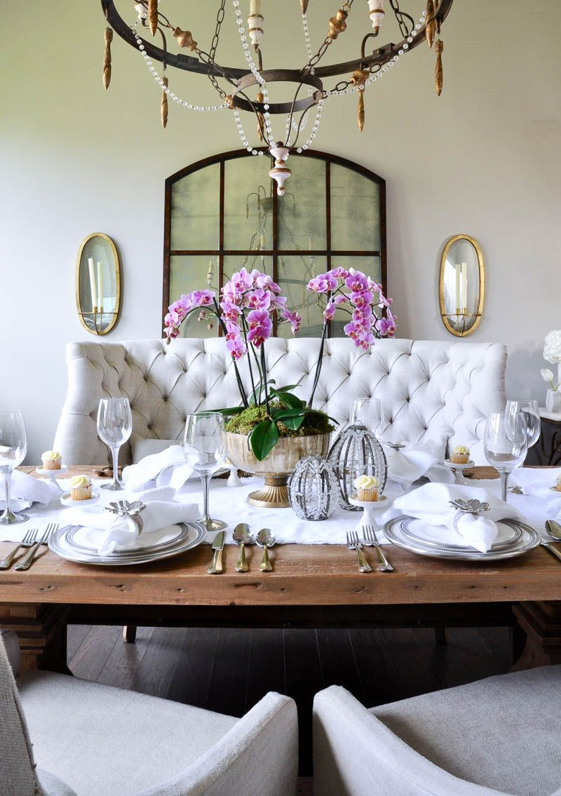 How To Make A Simple And Beautiful Orchid Arrangement Decor Gold Designs Dining Room Table Centerpieces Beautiful Dining Rooms Decor