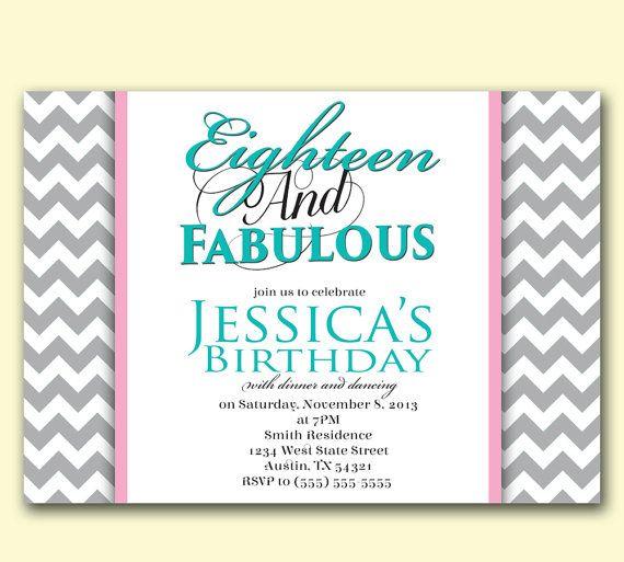18 Eighteen Tiffany Blue Birthday Invitation Printable Tiffany – Tiffany Blue Birthday Invitations