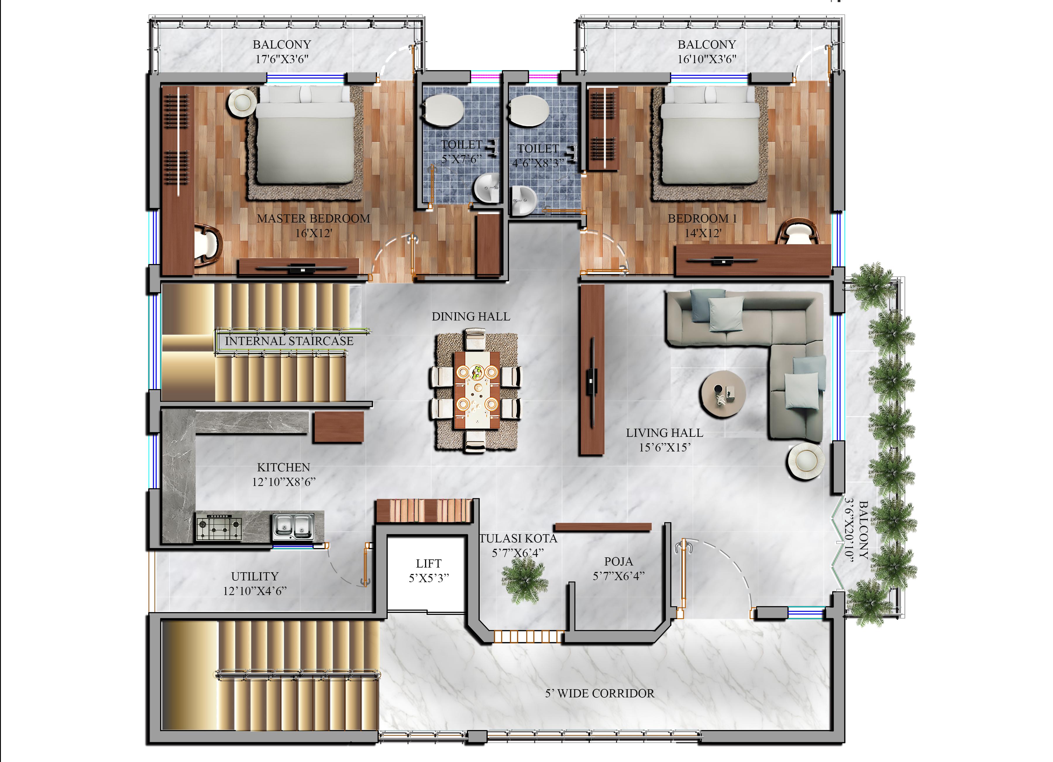 Residence Floor Plan Render Rendered Floor Plan Floor Plans Rendered Plans