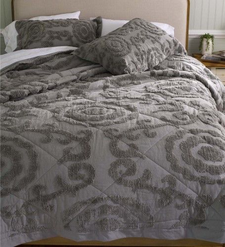 Plush Chenille Full Queen Quilt Set In Gray Grey Bedding Sets Quilt Sets Chenille Quilt
