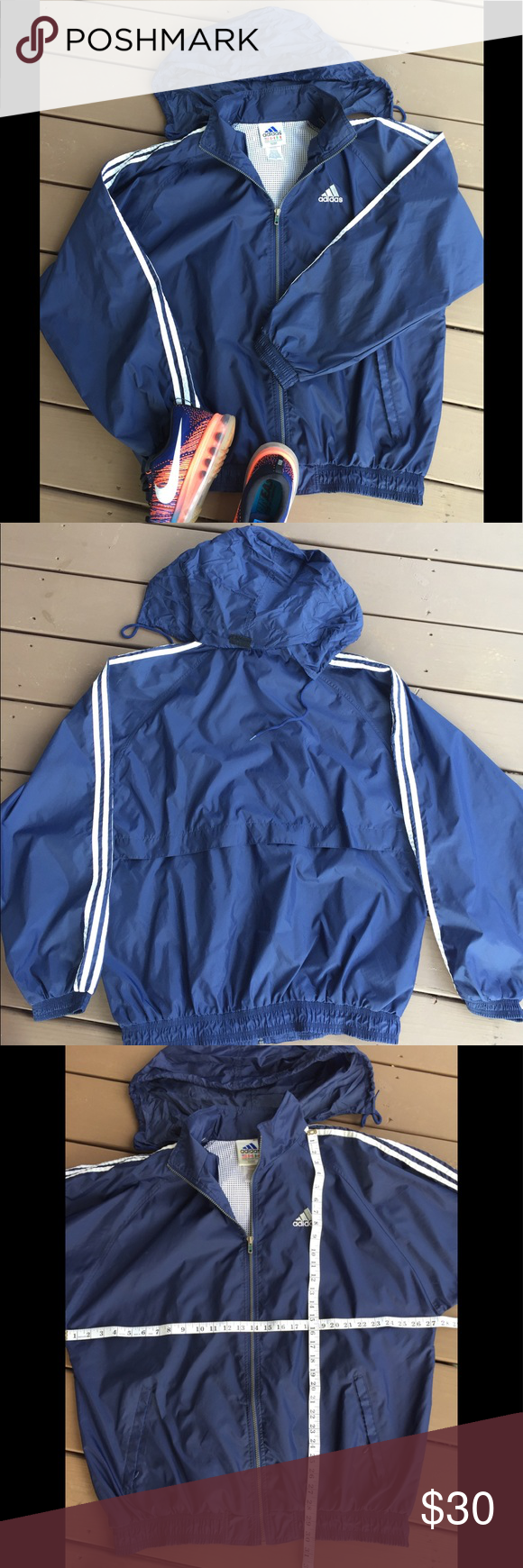 Uomini 3 strisce adidas originale giacca impermeabile antivento