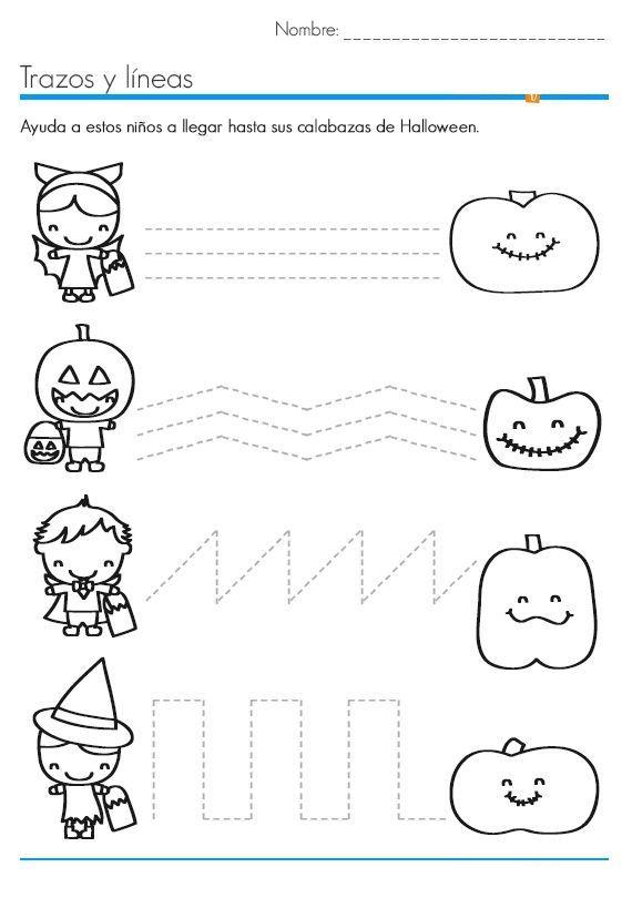 halloween trace line worksheet 3 - Halloween Worksheets Preschool