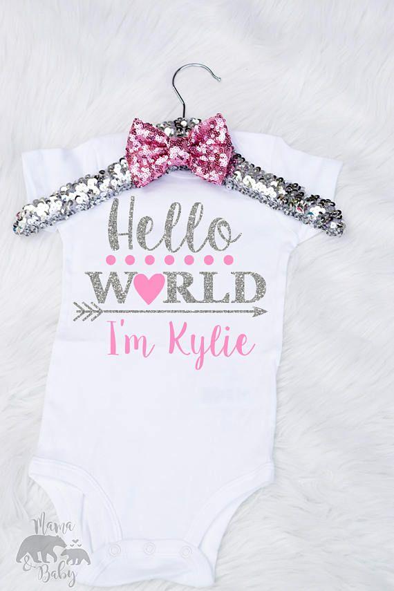 b99b77119 Baby Girls Hello World Onesie