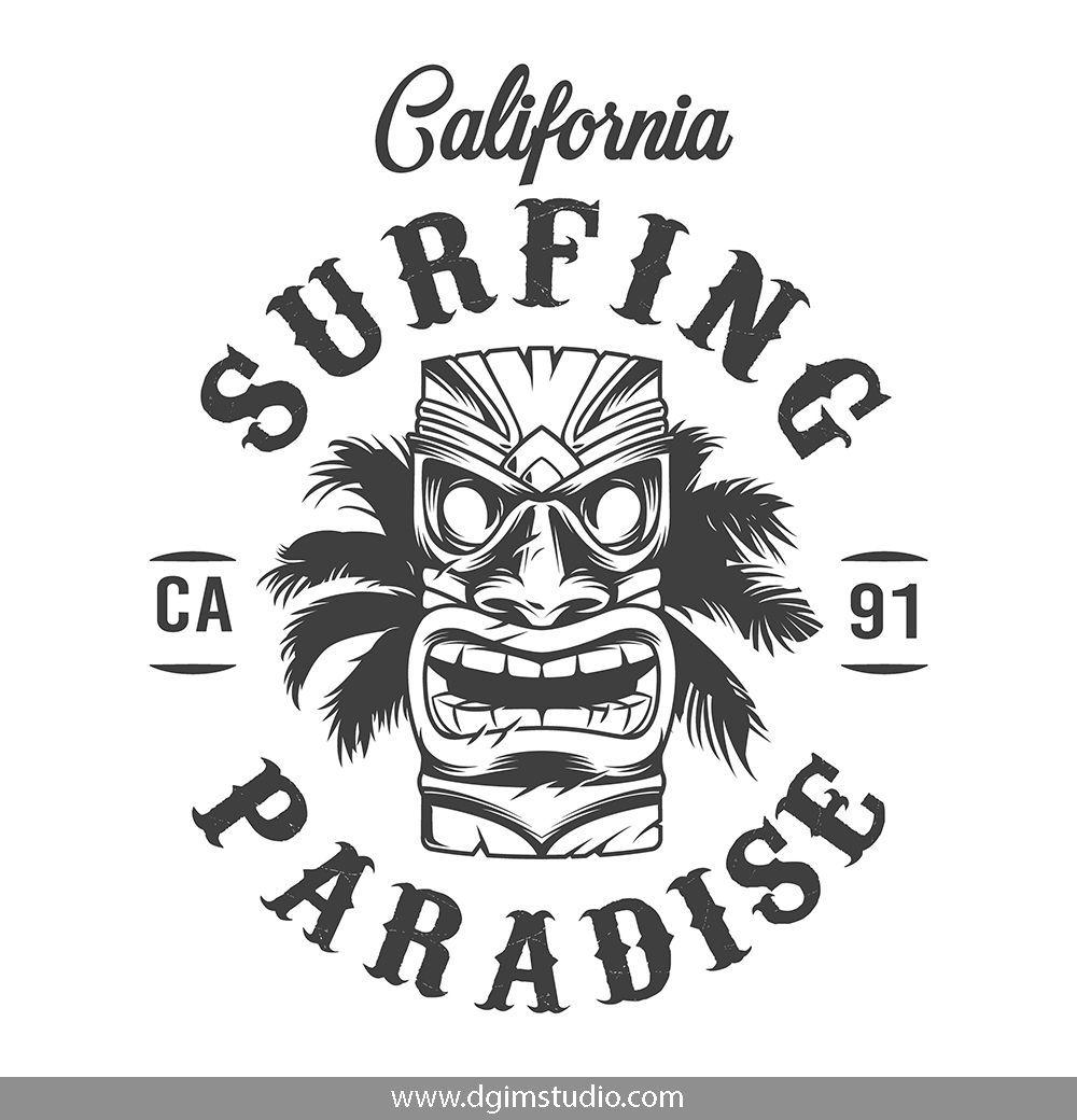 Vintage Surfing Emblems Logo keren, Gambar