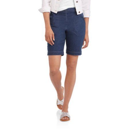 Real Size Women's Pull On Stretch Shorts, Size: Medium, Blue