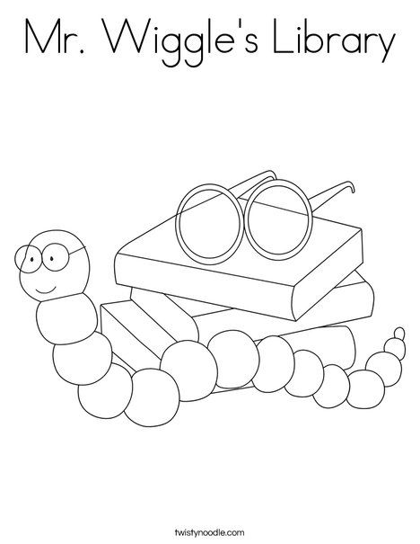 Mr Wiggle's Library Coloring Page from TwistyNoodle.com