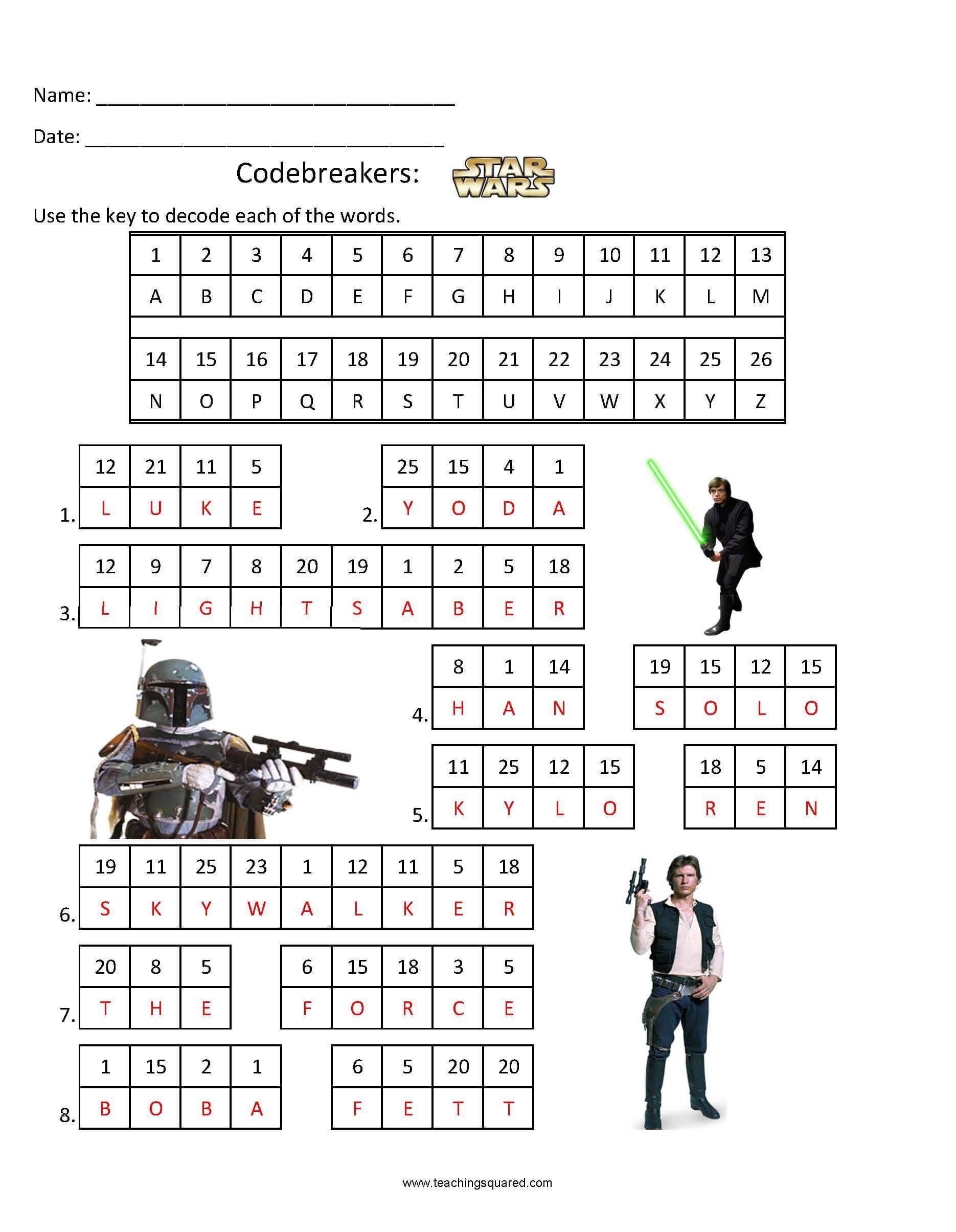 Star Wars Math Worksheets Codebreakers Star Wars 1 Teaching Squared Star Wars Activities Kids Math Worksheets Math Worksheet