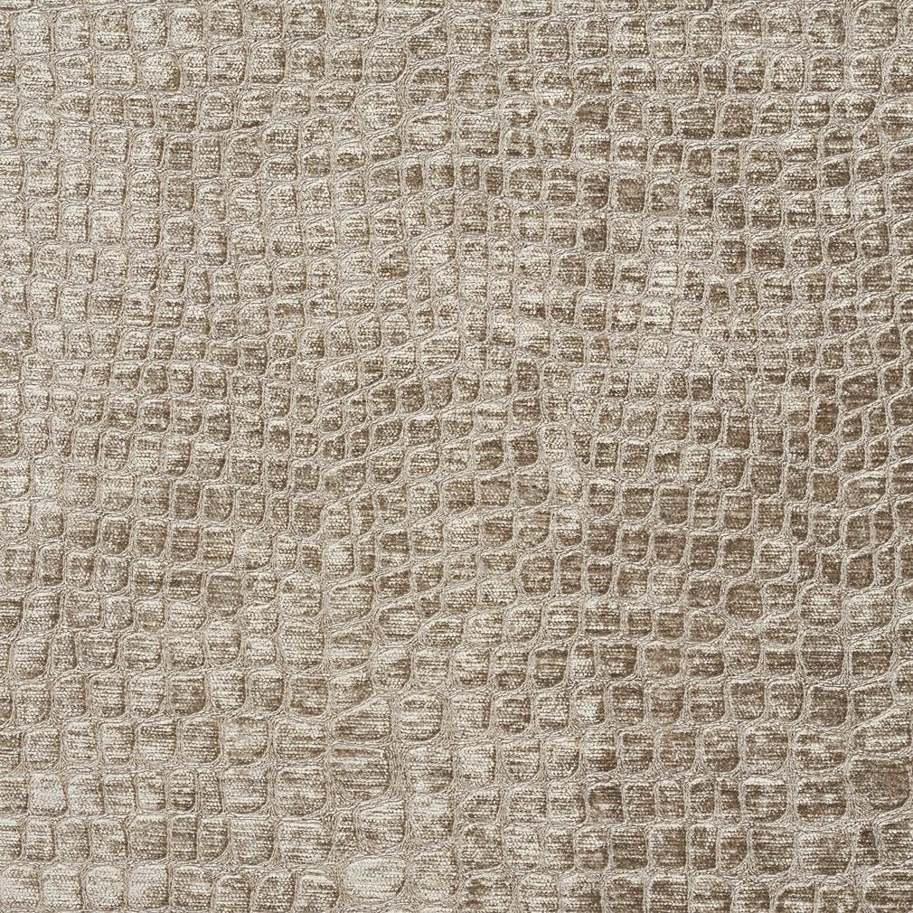 Platinum Textured Alligator Shiny Woven Velvet Upholstery Fabric By
