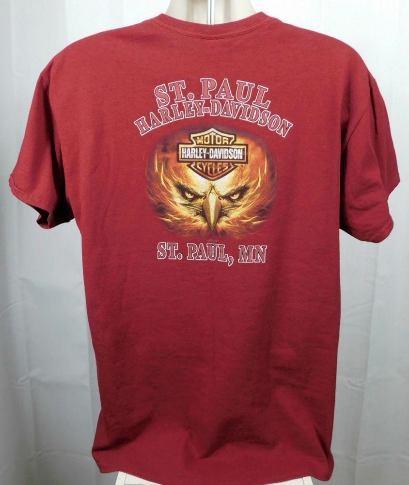aabf02e23 St Paul Harley Davidson Unisex T-shirt XL Red Cotton Eagle Eyes Beak ST  PAUL MN #HarleyDavidson #GraphicTee