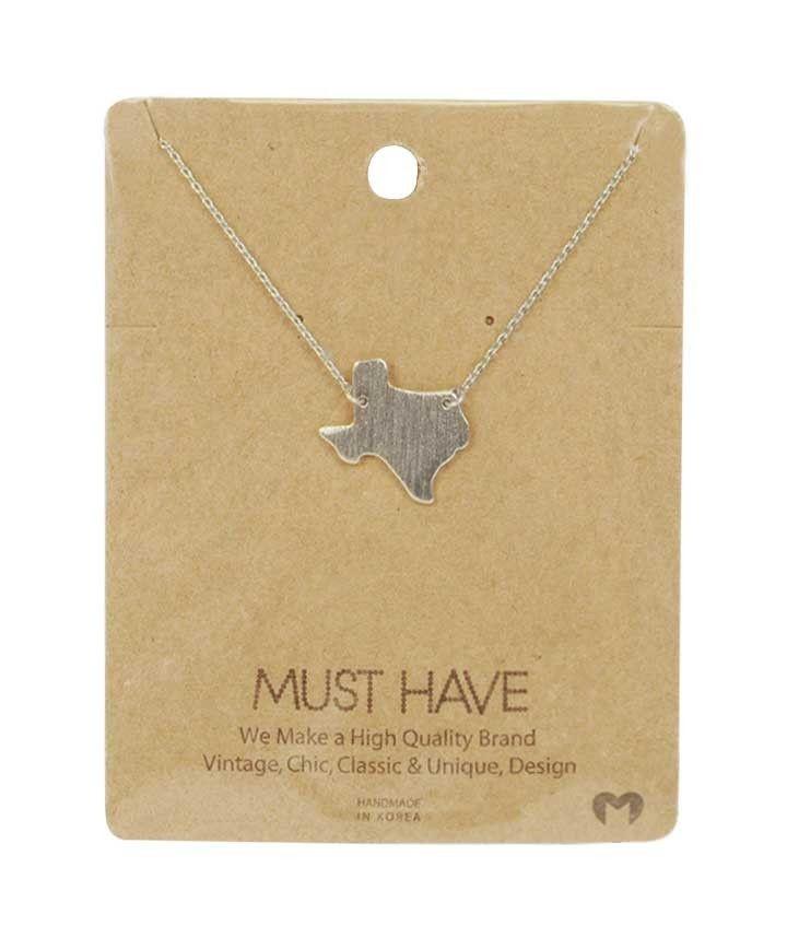 Silver Texas Pendant Necklace