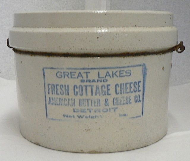 Stoneware Cheese Container Advertising Great Lakes Cottage Detroit Mi