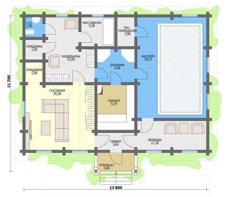 план дома с бассейном сауной и хамамом
