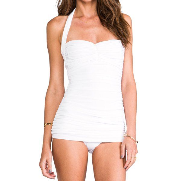 Retro Ruched Solid Color One-Piece Swimsuit #swimsuit #swimwear #sun #summer