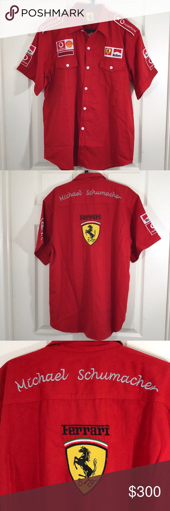 Rare Ferrari Michael Schumacher Pitcrew Shirt Nwot Shirts Pit Crew Shirts Casual Shirts