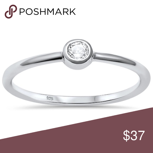 Round Mother Of Pearl Promise .925 Sterling Silver Ring Sizes 5-10