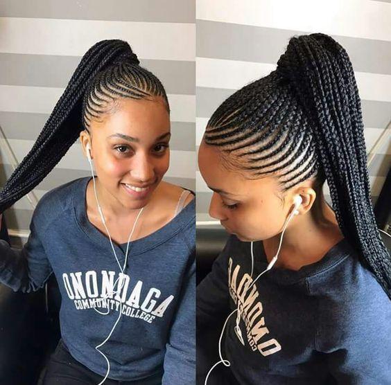 Pin By Violet Oribi On Braids Cornrow Hairstyles Braided Ponytail Hairstyles African Braids Hairstyles