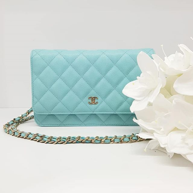 4099abe6ce11 New Chanel Classic Wallet On Chain Mini Flap Bag Tiffany Blue Caviar Gold  Hardware measuring by