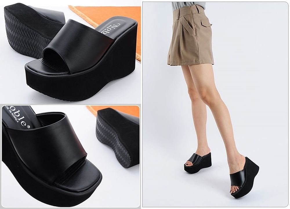 Black 10cm Wedge Sandals Heels Mule Slippers Platforms Women