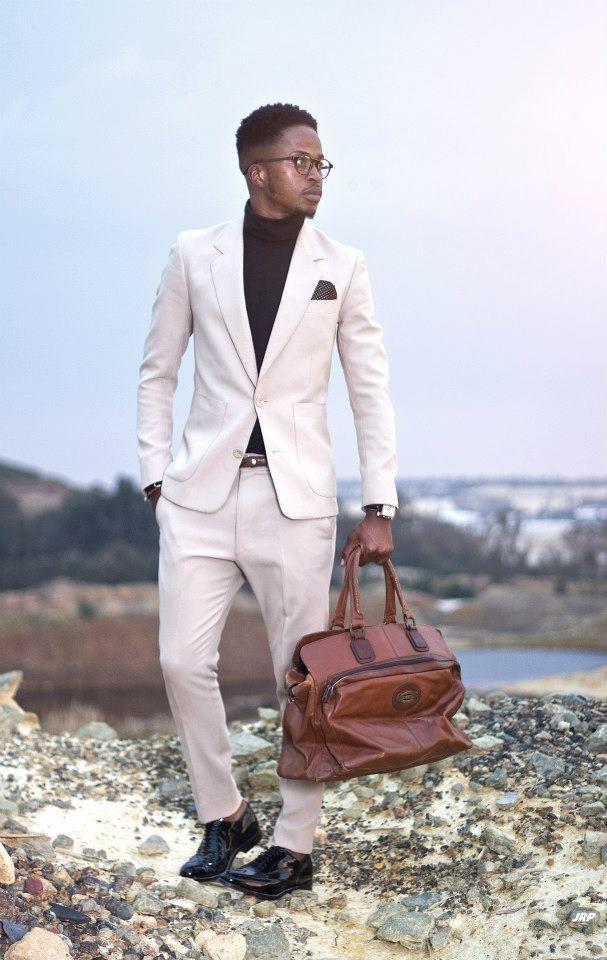5e2953d9b46d black turtleneck with white (light gray) suit. smart casual | Street ...